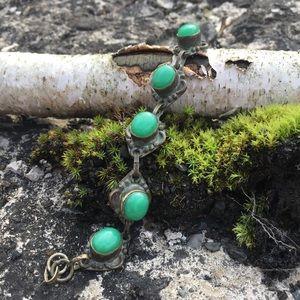 Jewelry - Antiqued Oxidized Brass Green Cab Bracelet